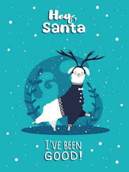 Llama with snow and many details. funny alpaca  deer. hey santa,  i behaved good .