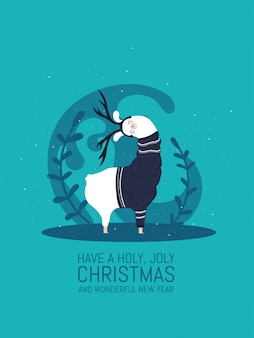 Llama with snow and many details. funny alpaca. have a holy joly christmas and wonderful happy new year.