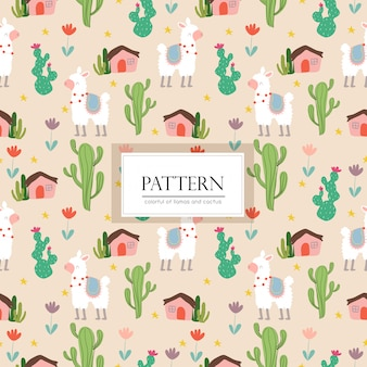 Llamas and cactus seamless pattern