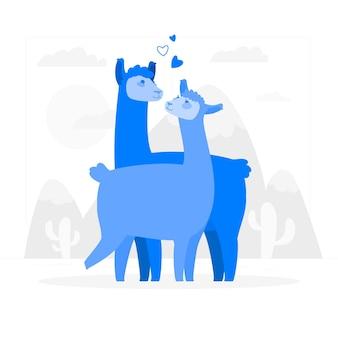 Llamas in love concept illustration