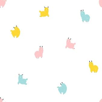 라마 완벽 한 패턴입니다. 스칸디나비아 스타일의 만화 다채로운 캐릭터는 흰색 배경에 격리된 단순한 손으로 그린 유치한 스타일입니다. 보육, 아기 옷, 직물, 직물, 포장에 이상적입니다.