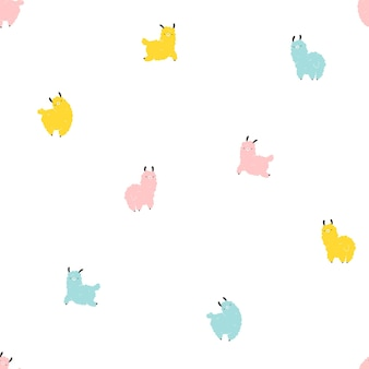 Llamas seamless pattern. cartoon colorful character in scandinavian style simple hand drawn childish style isolated on white background. ideal for nursery, baby clothes, textiles, fabrics, packaging.