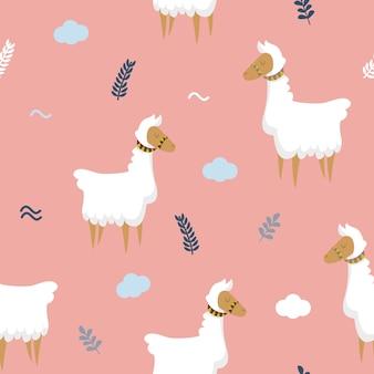 Llamas seamless pattern