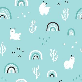 Llamas with rainbows cacti seamless pattern cartoon character
