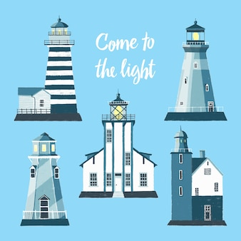 Llighthouses clipart for kids room poster
