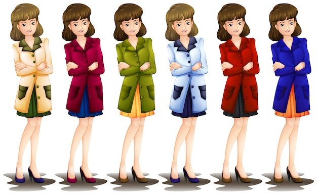 Lllustration of a female in different shades of a blazer on a white background