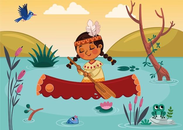 川でカヌーを漕ぐネイティブアメリカンの女の子のイラスト