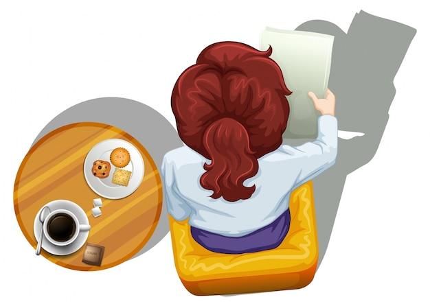 흰색 배경에 테이블 옆에 읽는 여자의 topview의 lllustration