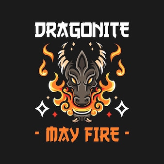 Llustration of dragon head with fire in old school style