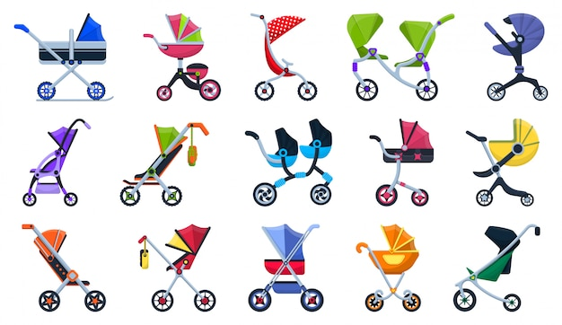 Llustration of isolated cartoon icon stroller for newborn.