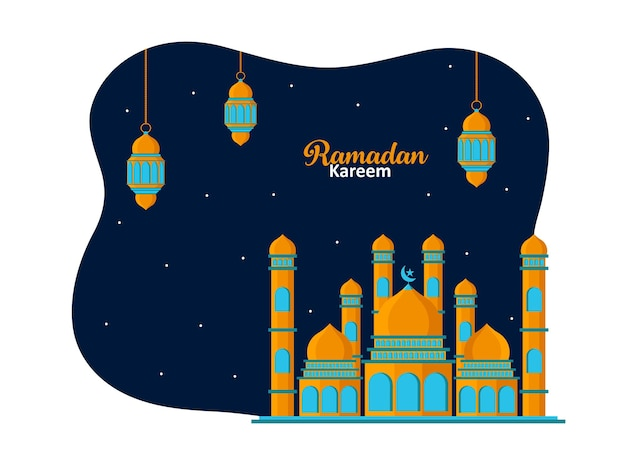 Llustration of mosque and lantern fanus. islamic festival celebration abstract background premium vector