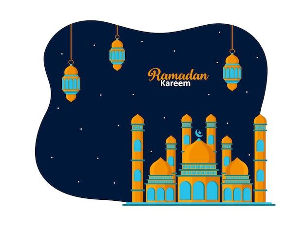 Люстрация мечети и фонаря fanus. исламский фестиваль празднование абстрактный фон premium векторы