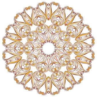 Llustration of ornate floral pattern in pastel rose pink and yellow shades on white background
