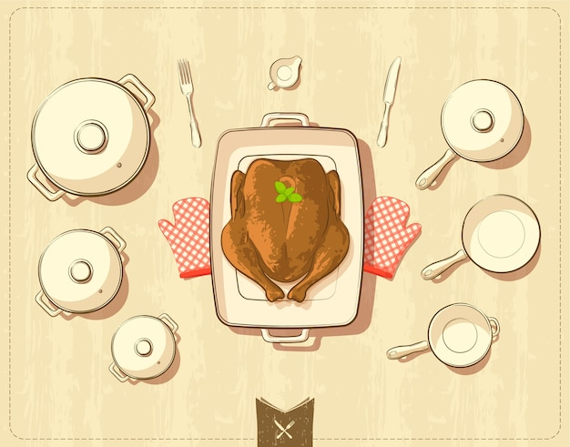 Llustration of pots and cookware with roasted chicken
