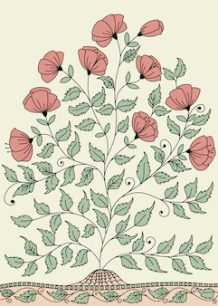 Llustration with a bush of roses