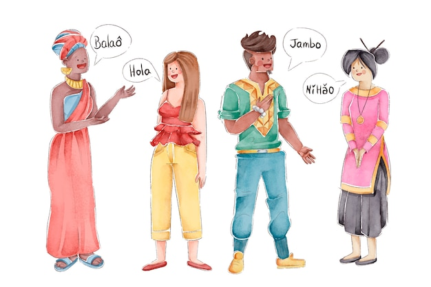 Llustrations of multicultural people