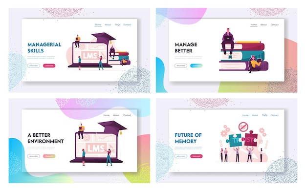 Lms, learning management system and broken trust landing page template set.