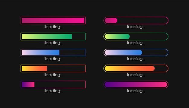 Load bar progress gradient download interface loading sign vector loader concept