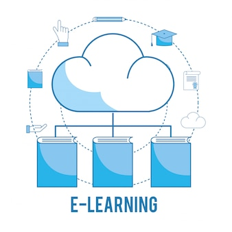 Load cloud with books knowledge and graduation cap