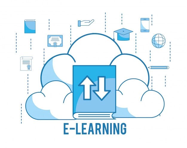 Load cloud with graduation cap and education book