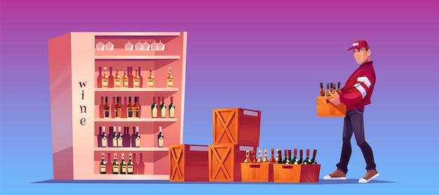 로더는 보관, 상점 보관 또는 바에 병이 담긴 상자를 운반합니다. 알코올 음료 배달. 스탠드에 와인과 유리 병 나무 상자를 들고 남자와 만화 그림