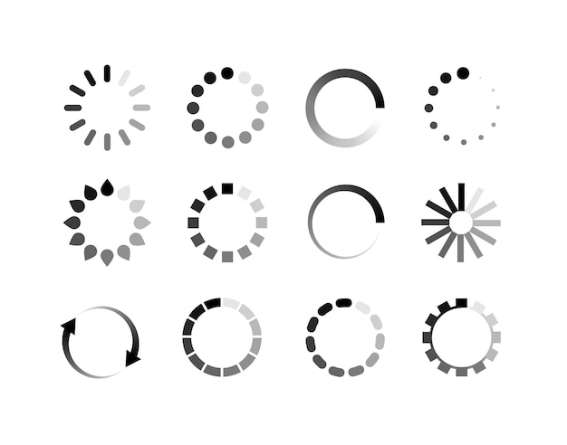 로더 아이콘 벡터 원형 버튼입니다. 업로드 다운로드 라운드 프로세스에 대한 기호 ymbol 진행률 표시줄을 로드합니다.