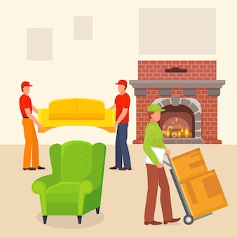 Loader make move stuff house, character male porter carry box flat vector illustration. cozy home room, fireplace and chair.