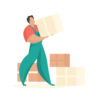 Loader with boxes of things professional workers for delivery furniture and interior items
