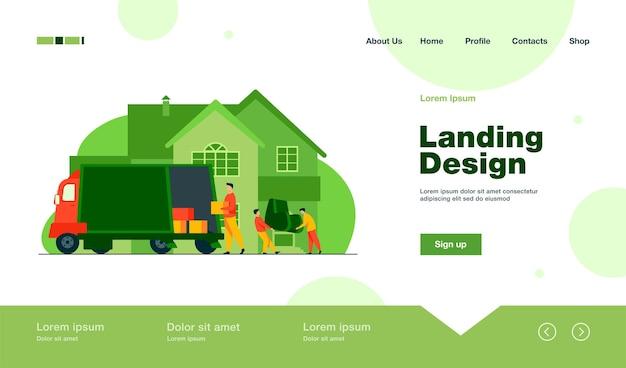 フラットスタイルの新しい家の着陸ページでアームチェアとボックスを運ぶローダー