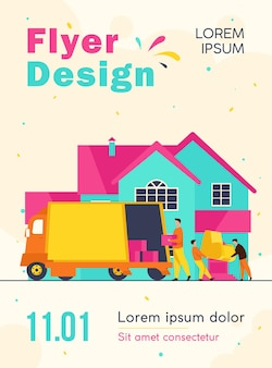 Loaders carrying armchair and boxes in new house flyer template