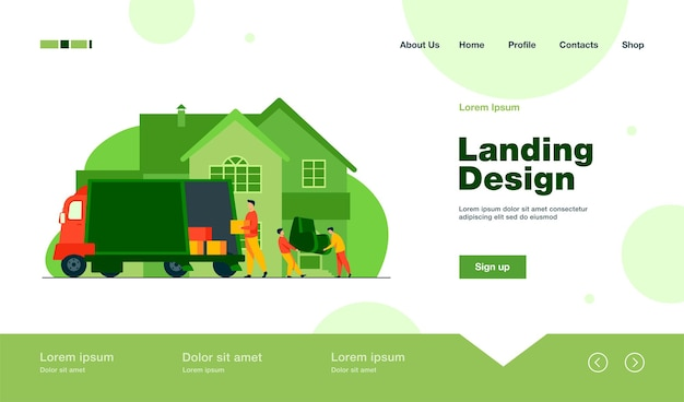 Loaders carrying armchair and boxes in new house landing page in flat style