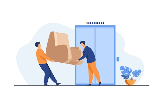 Loaders carrying furniture during moving. two men holding armchair at elevator flat illustration.