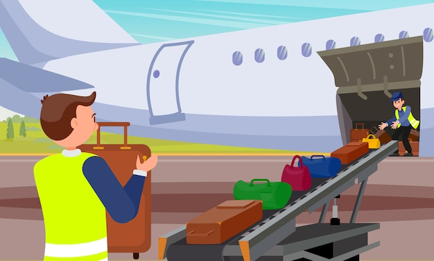 Loading baggage in airplane flat illustration.