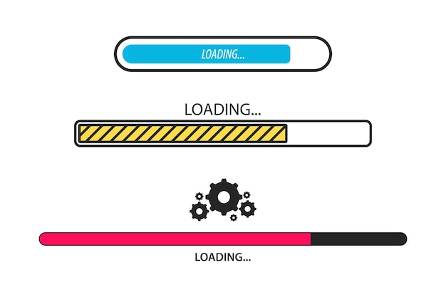 로딩 바. 로드 중, 진행 중입니다. 부하 기호 집합입니다. 속도 기호를 업로드 중입니다. 아이콘을 업데이트합니다. 응용 프로그램 또는 소프트웨어 설치. 그래픽 및 웹 디자인을 위한 업그레이드 응용 프로그램 진행 아이콘의 개념