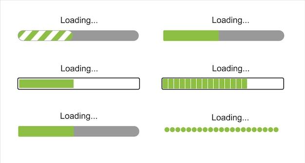 読み込み中のバーの進行状況アイコン読み込み記号緑のベクトルイラストシステムソフトウェアの更新とアップグレード...
