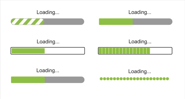Loading bar progress icons load sign green vector illustration system software update and upgrade co...