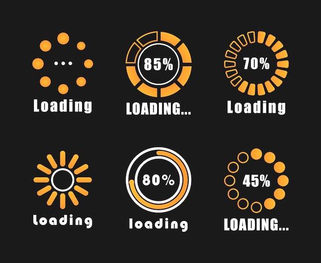 Loading bar progress icons, load sign. a set of indicators isolated
