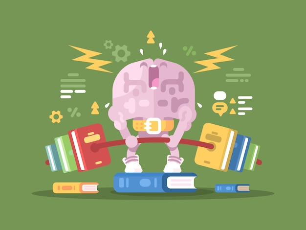 Loading for brain. brains of character lifting weight with books.  illustration
