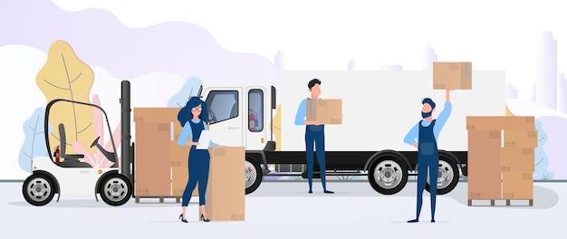 Погрузка груза в машину. грузчики несут ящики. концепция переезда и доставки. грузовик, погрузчик, погрузчик. вектор.