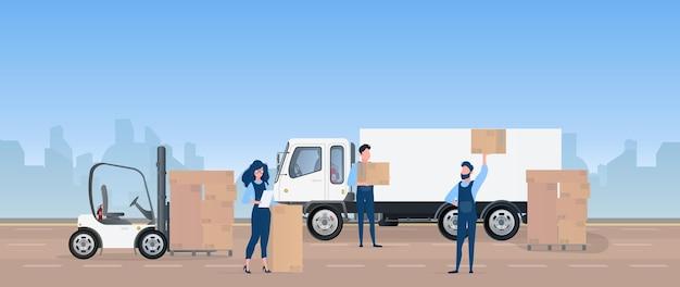 차량에화물을 적재합니다. 무버는 상자를 운반합니다. 이동 및 배달의 개념. 트럭, 지게차, 로더. .