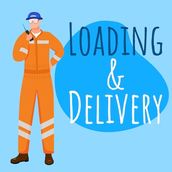 Loading and delivery social media post mockup. sea port worker. advertising web banner design template. social media booster, content layout. promotion poster, print ads with flat illustrations