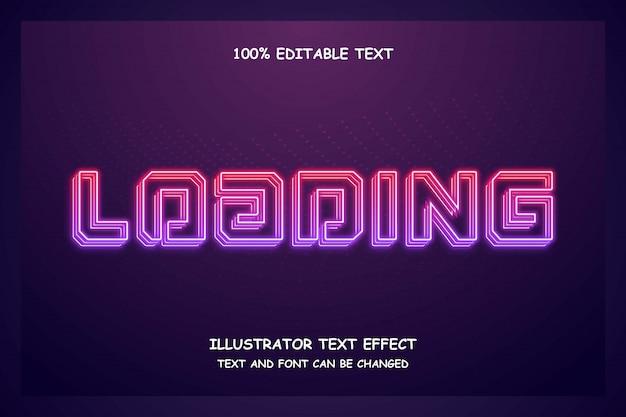Loading,editable text effect purple gradation pink modern neon layers style