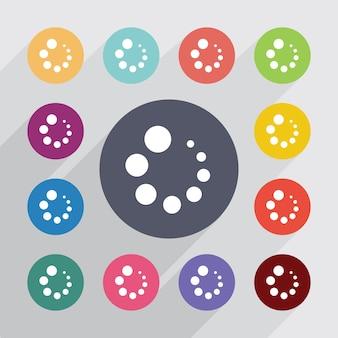 Загрузка, набор плоских иконок. круглые красочные кнопки. вектор