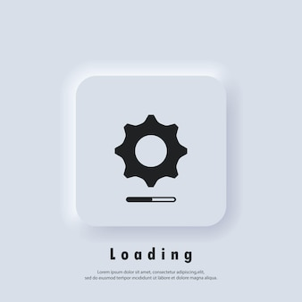 Loading and gear icon. loading process. progress bar icon. system software update. update system icon. concept of upgrade application progress icon.
