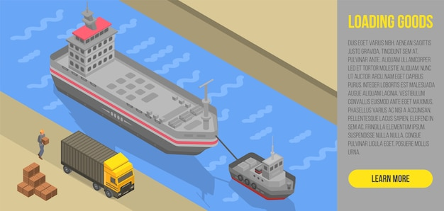 Loading goods concept banner, isometric style