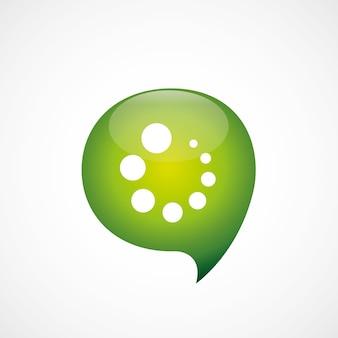 로딩 아이콘 녹색 생각 거품 기호 로고, 흰색 배경에 고립