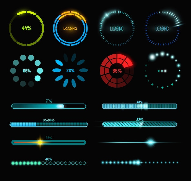 Loading process and status bar icons, hud interface. vector sci fi digital futuristic elements for dashboard, technology style neon glowing ui navigation for game menu design or web site data load