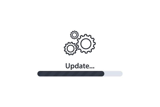 로딩 과정. 시스템 아이콘을 업데이트합니다. 그래픽 및 웹 디자인을 위한 업그레이드 응용 프로그램 진행 아이콘의 개념입니다. 업그레이드 업데이트 시스템 아이콘입니다.