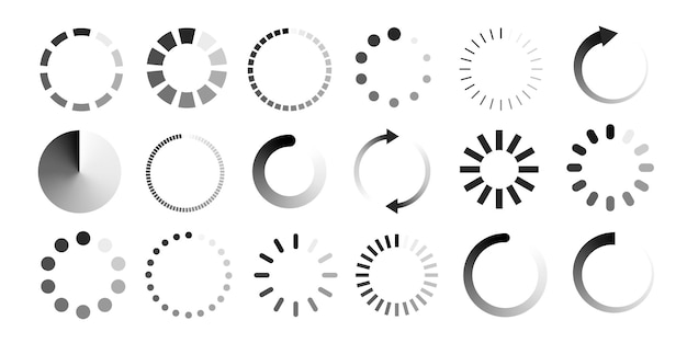 Loading vector icon set isolated on white background load symbol download sign progress loading