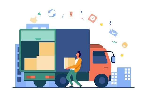 Загрузка рабочий, несущий ящик в грузовик. посылка, логистика, картон плоский векторные иллюстрации. служба доставки и концепция доставки
